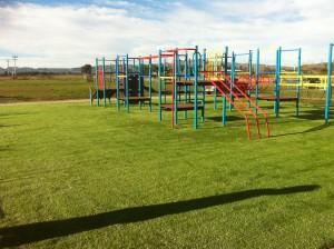 artificial green turf field